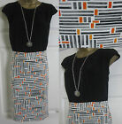NEW EX NEXT LADIES SHIFT OFFICE WORK PARTY PENCIL DRESS BLACK ORANGE SIZE 6 -18