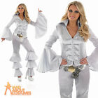 Ladies Dancing Queen Costume 70s Adult Fancy Dress Silver Disco Outfit UK 8-26
