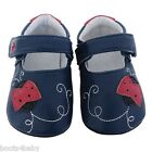 JACK&LILY Baby Girls Luxury Leather Shoes Navy Ladybird Design indoor&outerwear
