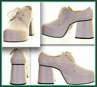 MENS WHITE VERY HIGH PLATFORMS 1970'S STYLE FANCY DRESS SIZE 7 8 9 10 11 12 13