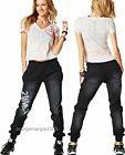 ZUMBA FITNESS -2 PIECE SET!~Black Denim Stretch Pants & Burn Out V Tee-RARE S M