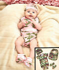4 Piece Camo Baby Set IN HAND Onesie-Bib-Booties-Hat Camouflage Gift Shower Army