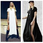 Casual Side High Slits Tee Women Sexy Long Top T-shirt Tops Blouse Maxi Dress