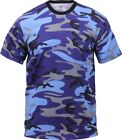 Mens Electric Blue Camouflage Tactical Military Short Sleeve T-Shirt