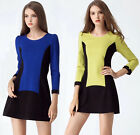 Elegant Womens European Fashion Style Minimalist Colorblock Spring Shift Dress
