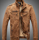 2015 Yellow Men's leather motorcycle coats jackets washed leather coat