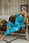 Freeship Green/Yellow silk Blend Women lady'Sleepwear Pajama Sets M/L/XL/2XL