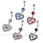 1pc 14G Sexy Dangle Stainless Steel Crystal Heart Belly Bar Navel Ring Jewelry