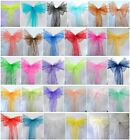 "100 Organza Chair Cover Sash Bows 8""x108"" 30 Colors Extra Wide Wedding Party"