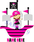 CUTE PIRATE GIRL IRON ON TRANSFER PERSONALISED FREE Ref GRL 04-09