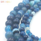 """4-12MM Round Smooth Banded Blue Agate Jewelry Making Loose Gemstone Beads 15"""""""