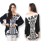 Women's Casual Long-sleeve Pullover Loose Shirt Blouse Clubwear Off Shoulder Top