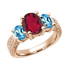 3.40 Ct Ruby Red Mystic Quartz Swiss Blue Topaz  RG Plated Silver  Ring
