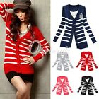 New Women Knitted Striped Buttoned Long Sleeve Cardigan Sweaters Tops Coat
