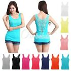 New Women Lace Flower Tank Top Rhinestones Cami Vest Waistcoat T-shirt Blouse