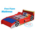 """MCC Cars Speed Junior Toddler Kids Bed with 4"""" Luxury Foam Mattress Made in UK"""