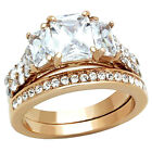 Wedding Ring Set Emerald Cut Cubic Zirconia Rose Gold Ip Stainless Steel 3 Stone