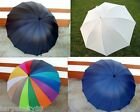 "New Mens Womens 48"" Large Canopy Windproof Long Rain/Sun Golf Umbrella 4 Colour!"