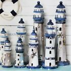 1 X Wooden Lighthouse Home Decor Decorative Fish Shell Nautical Ornament Display