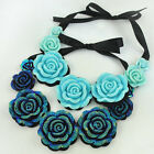 POP Sexy Retro Lace Large Rose Flower Charm Pendant Short Clavicle Necklace UKFO