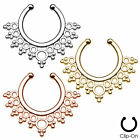 Lacey Edge Fake Cheater Non-Piercing Nose Septum Hanger - Choose Colour