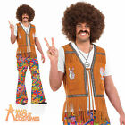Adult 60s Psychedelic Flares Hippy Hippie Mens Trousers Fancy Dress Costume