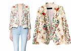 Spring Autumn Lady Retro Floral Printed 3/4 Sleeve Slim Thin Suits Blazers S M L