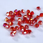 Fashion DIY jewelry 3mm/4mm Glass Crystal #5301 Bicone beads 100/1000pcs Red AB