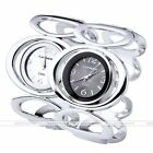1pc Oval Double Ring Quartz Analog Wrist Watch Cuff Bangle Bracelet Womens Jewel