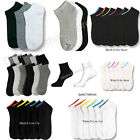6-12 PAIRS MEN WOMEN SOLID SPORTS ANKLE/QUARTER SOCKS CREW LOW CUT SPANDEX PLAIN