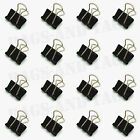 16x 15mm BLACK Mini Foldback Fold Back Binder Bulldog Clips