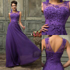 V-Back Vintage Beaded Long Formal Evening Prom Bridesmaid Graduation Dress PLUS