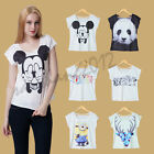 Women Panda T-shirts Sexy Printed Minions T shirt short sleeves Dress Stretchy