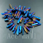 Metallic Titanium Coated Natural Druzy Drusy Gemstone Beads Freeshipping 7.5""