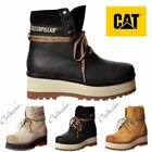 Womens Cat High Hopes Lace Up Ankle Combat Boot Black Honey Whitecap (UK Seller)
