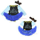 Pumpkin Carriage Princess Cinderella Black Bodysuit Blue Baby Dress Skirt NB-18M