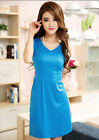 Women V-NECK Summer Dress Sexy Mini Dress Casual Cocktail Party Dress Blue