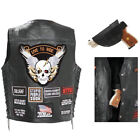Biker Vest Concealed Carry Buffalo Leather Motorcycle CCW Skull Wings 16 Patches