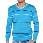 STEF WEAR - PULL RAYé - COL V - HOMME - STEF 503 - TURQUOISE BLANC NEUF