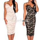 Black Sleeveless Strappy Floral Lace Nude Illusion Party Evening Midi Dress OBS