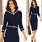 BRAND NEW LADIES DRESS 3/4 SLEEVE NAVY BLUE BUSINESS OFFICE WORK PENCIL DRESS