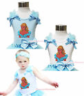 Fairy Princess Cinderella Print Baby Girl White Light Blue Top Shirt Vest NB-10Y