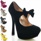 NEW LADIES WOMENS PLATFORM FAUX SUEDE LEATHER BOW STRAP FASHION COURT BNIB SHOES