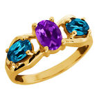 1.85 Ct Oval Purple Amethyst and Topaz Gold Plated Sterling Silver Ring
