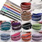 2015 Women's Crystal Cuff Tours Jewelry Bracelets Wristbands 2 Circles Bangles