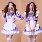 Purple Half sleeve Cosplay Costume sexy Maid Outfits Party Dress Set apron 2015