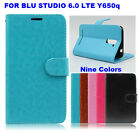 For BLU STUDIO 6.0 LTE Y650Q PERFECT FIT Luxury Wallet Leather Case Cover STAND