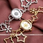 1pc Snowflake Star Crystal Cute Metal Quartz Watch Cuff Bracelet Christmas Gift