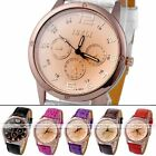 1pc Rosy Golden Case 24Hours Numeral Quartz Analog Mens Wrist Watch Jewelry New