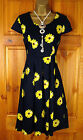 NEW EXCHAINSTORE BLUE &  YELLOW DAISY FLORAL VINTAGE STYLE SUMMER SUN TEA DRESS